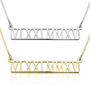 Cut Out Roman Numeral Necklace