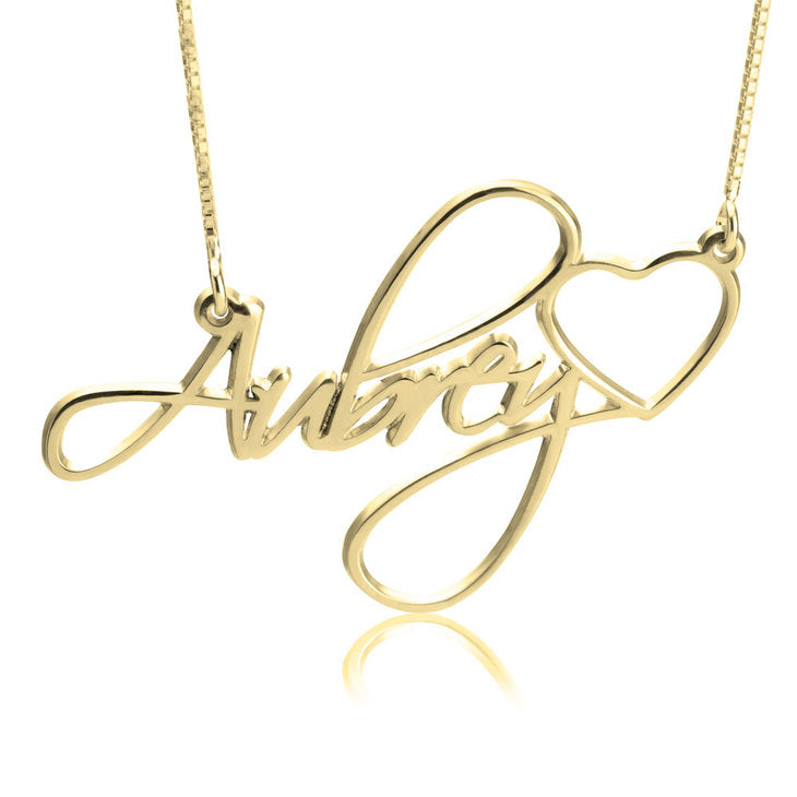 Fancy Heart Name Necklace