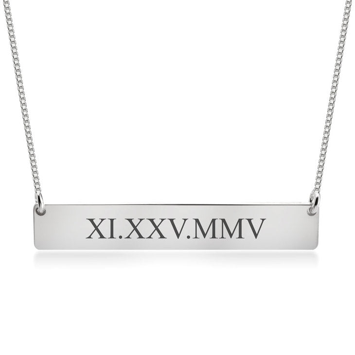 Engraved Roman Numeral Bar Necklace