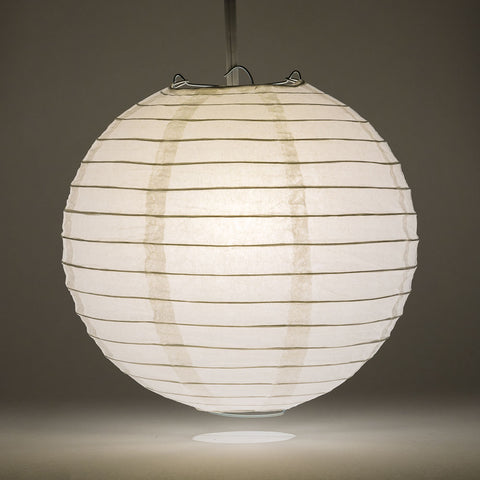 White Round Paper Lantern, Even Ribbing, 24""