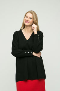 "30"" Long Sleeve V-Neck Boxy Tunic"