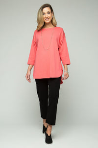 "30""-32"" 3/4 Sleeve Wide Crewneck High-Low Shirttail Tunic"