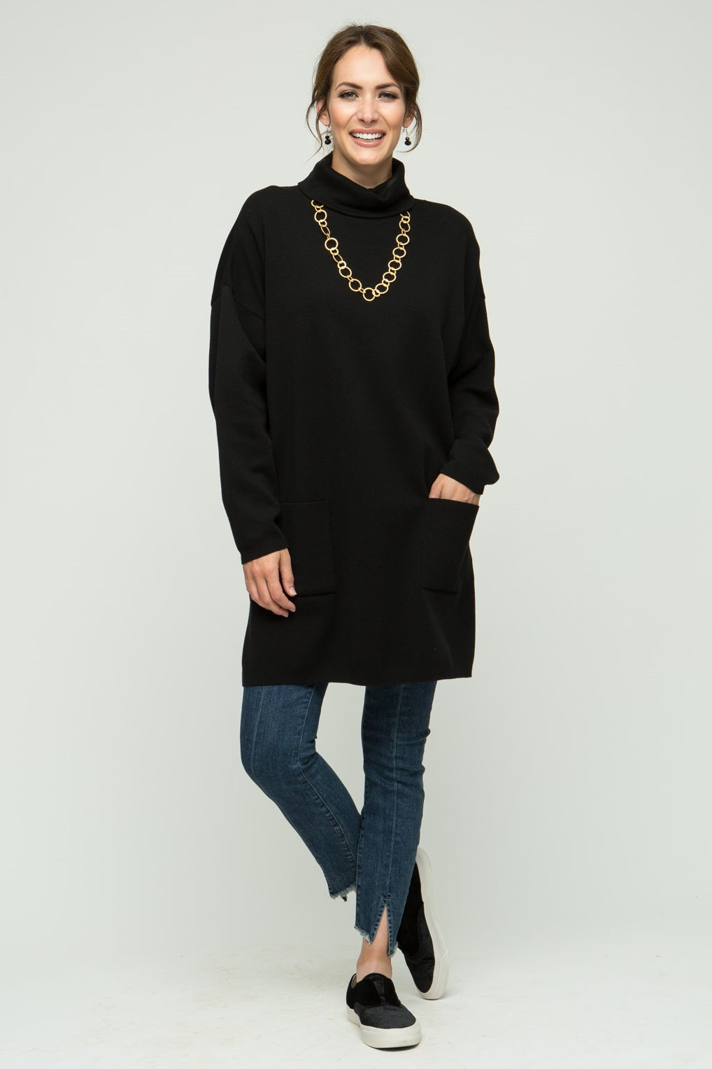 "33"" Turtleneck Tunic with Pockets"