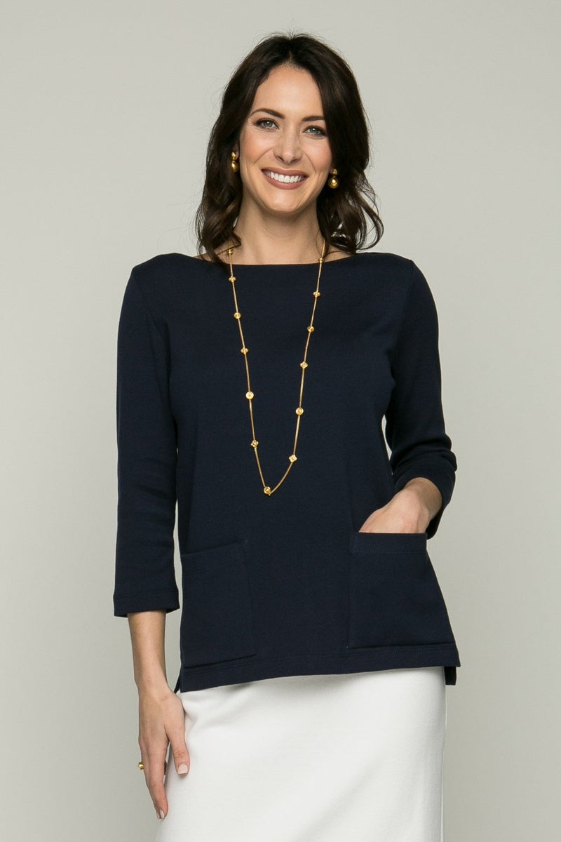 "25"" 3/4 Sleeve Boat Neck, Two Pocket Top"