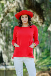 "25"" ¾ Sleeve Boat Neck, Two Pocket Top - New Orleans Knitwear - Tops - Blouses"