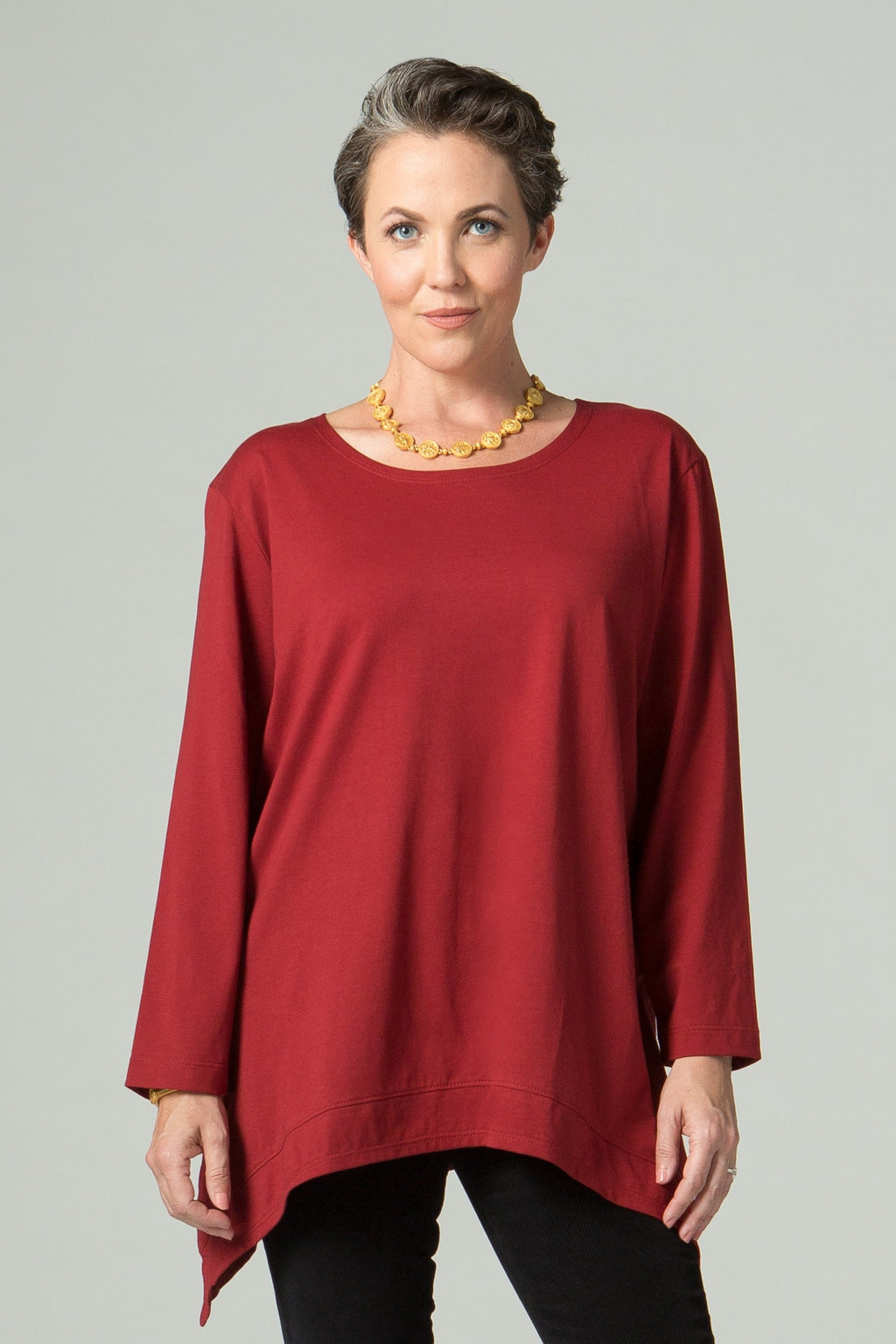 Long Sleeve T with Side Points - New Orleans Knitwear