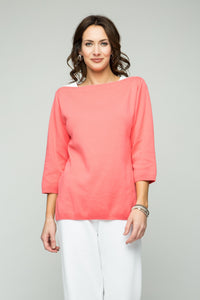 "26"" ¾ Sleeve Boat Neck Top"