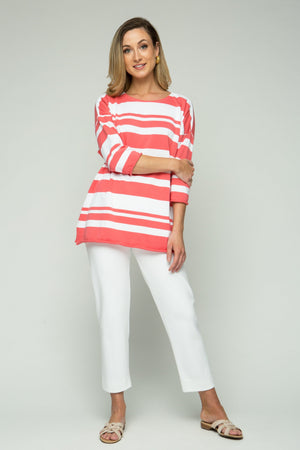 "26"" ¾ Sleeve Oversized Stripe Top"
