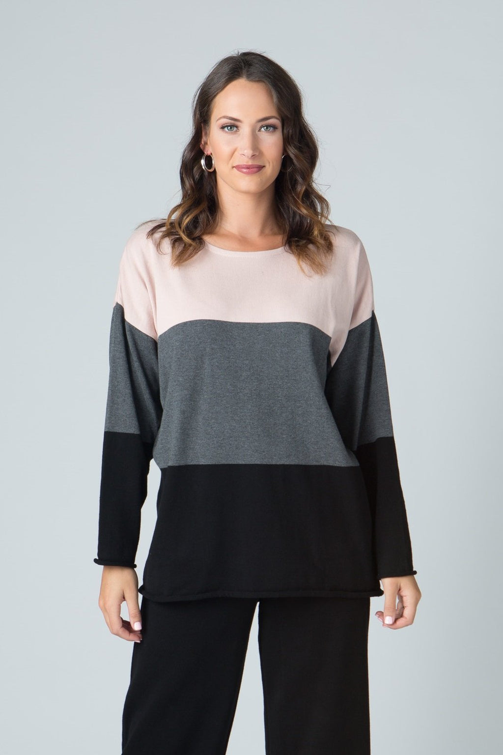 "25"" Long Sleeve Stripe Open Neck Top"
