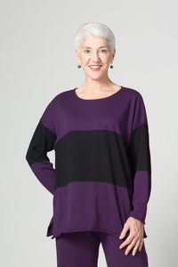 "25"" Long Sleeve Stripe Square Top"