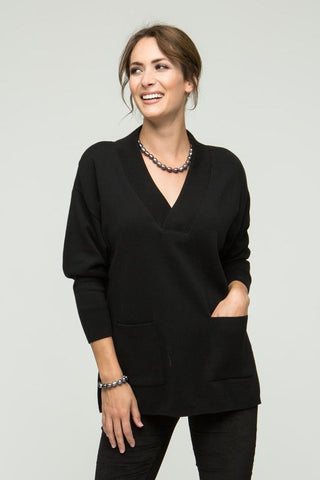"27"" Long Sleeve Shawl Collar Top with Pockets"