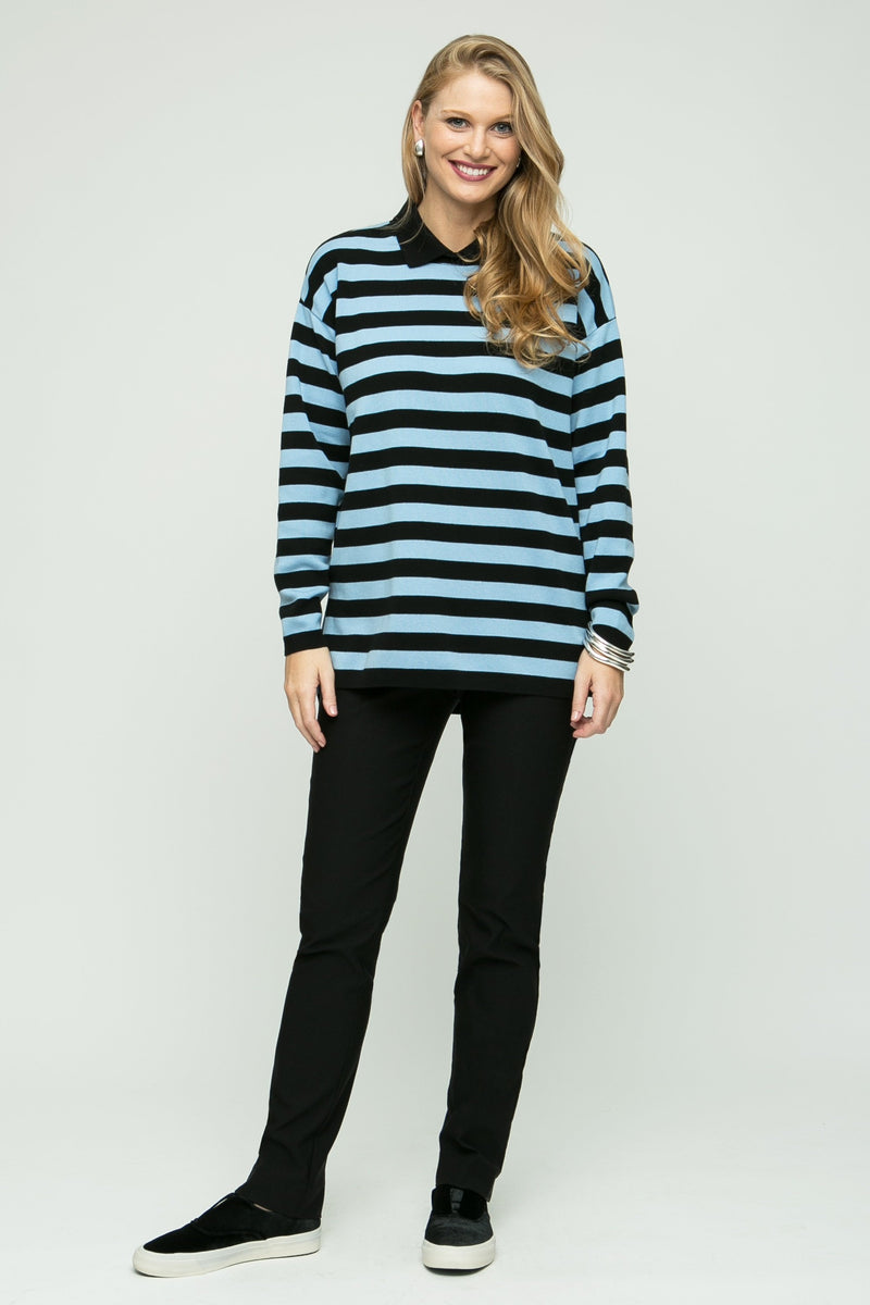 "27'/29"" Striped Polo Collar Boxy Tunic"