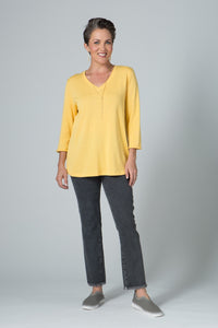 "27"" ¾ Sleeve V Neck Lightweight Top With Roll Trim"