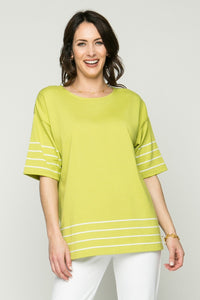 Short Sleeve Lightweight Big T with Stripe Detail