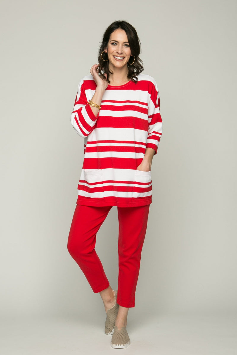 "26"" ¾ Sleeve Oversized Stripe Top with Pockets"