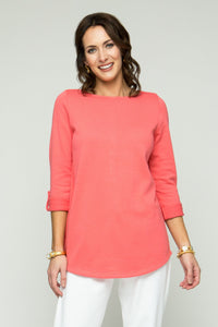 ¾ Sleeve Round Neck Tunic with Button Detail - Ballin's LTD  &  New Orleans Knitwear