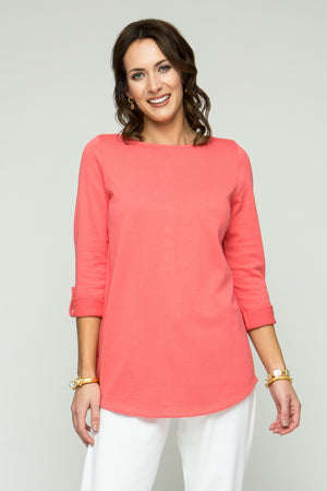 ¾ Sleeve Round Neck Tunic with Button Detail