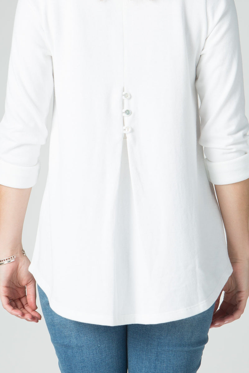 ¾ Sleeve V Neck Tunic with Button Detail