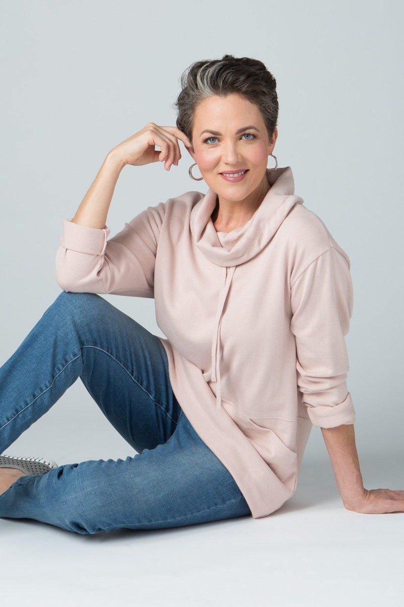 Long Sleeve Cowl Neck Top with Front Pocket - New Orleans Knitwear - Tops - Sweaters