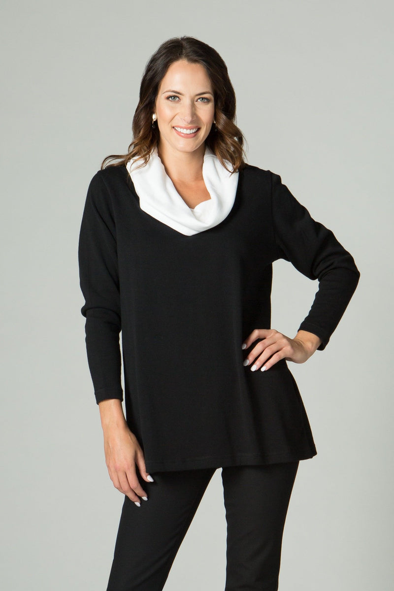 "28"" Long Sleeve Cowl Neck A-Line Tunic"