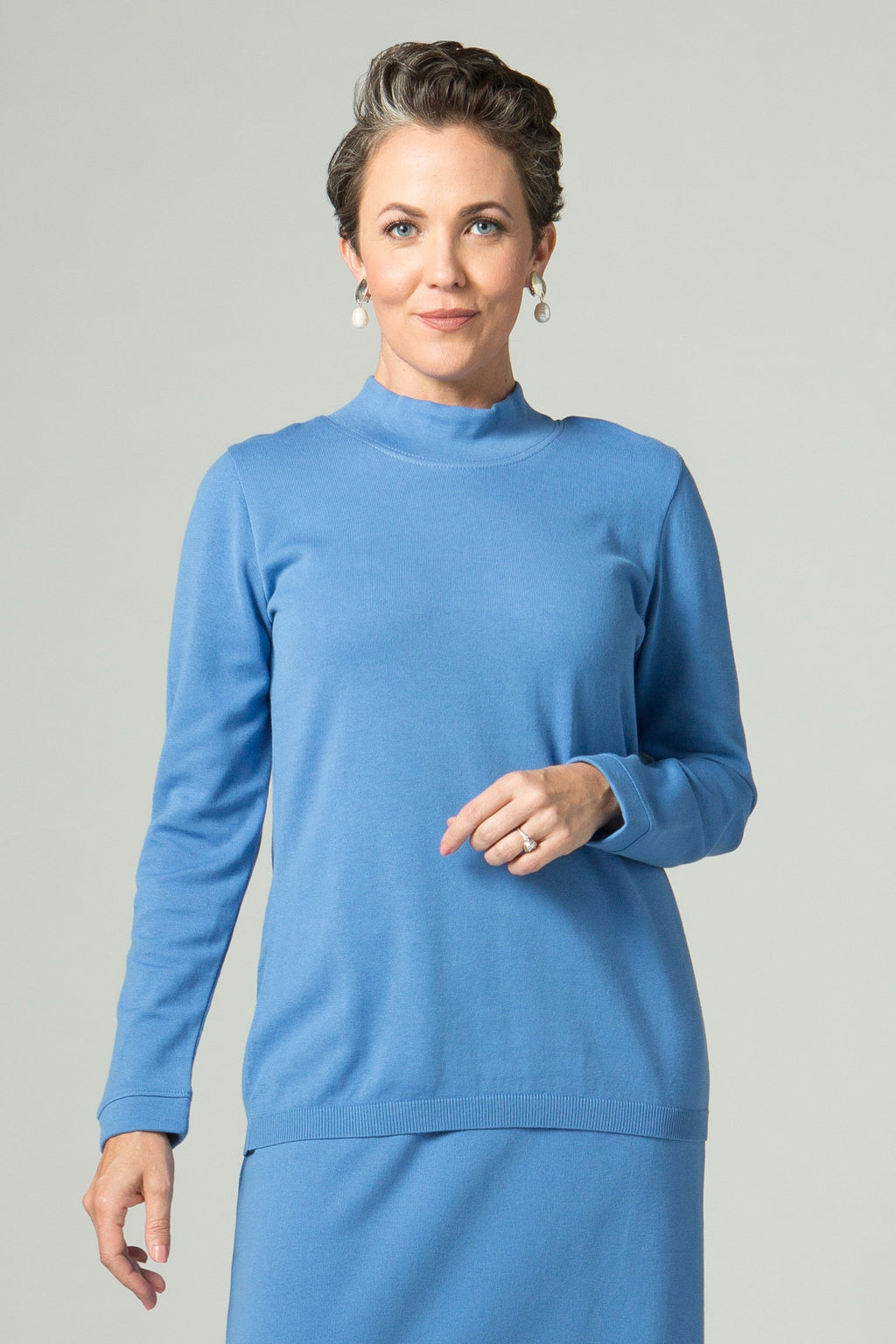 Long Sleeve Fitted Mock Neck T - New Orleans Knitwear