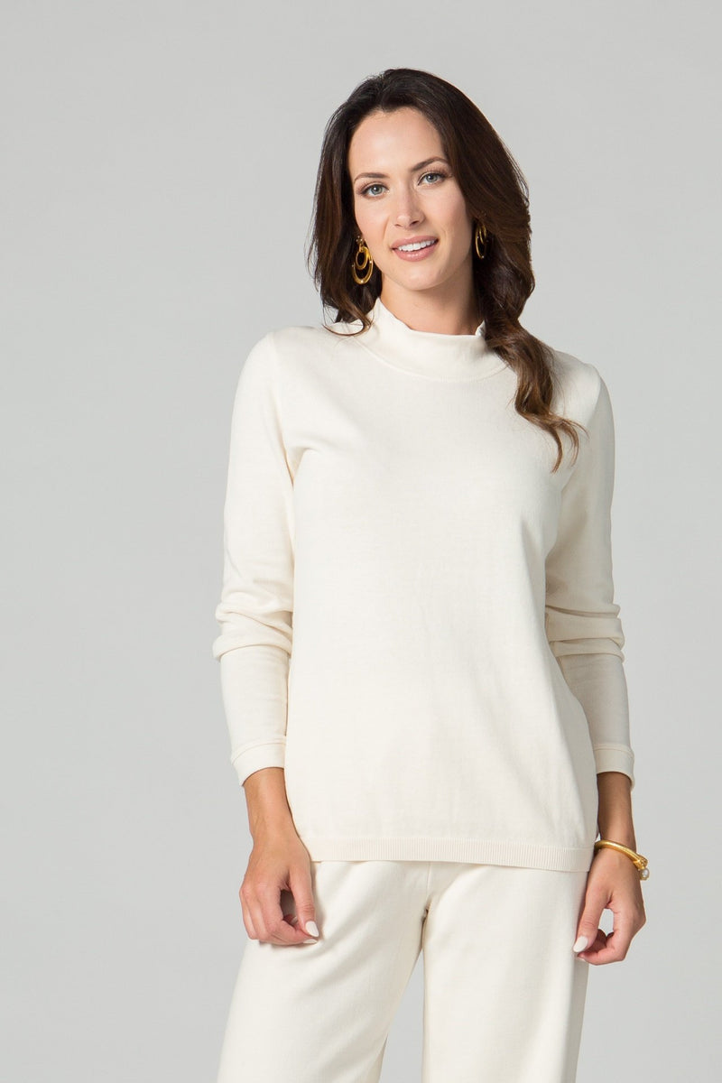 Long Sleeve Fitted Mock Neck T