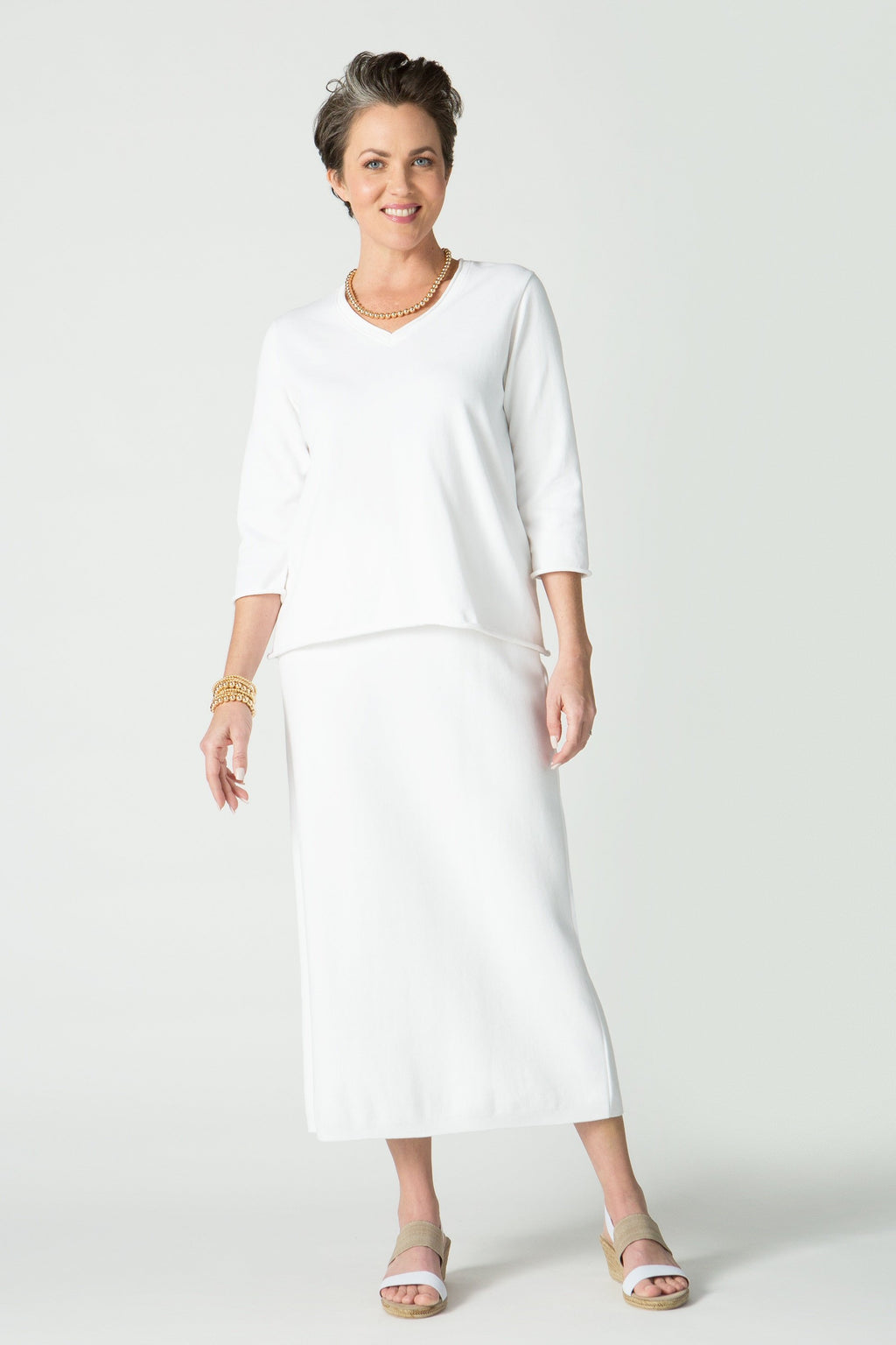 ¾ Sleeve V Neck Top with Roll Trim
