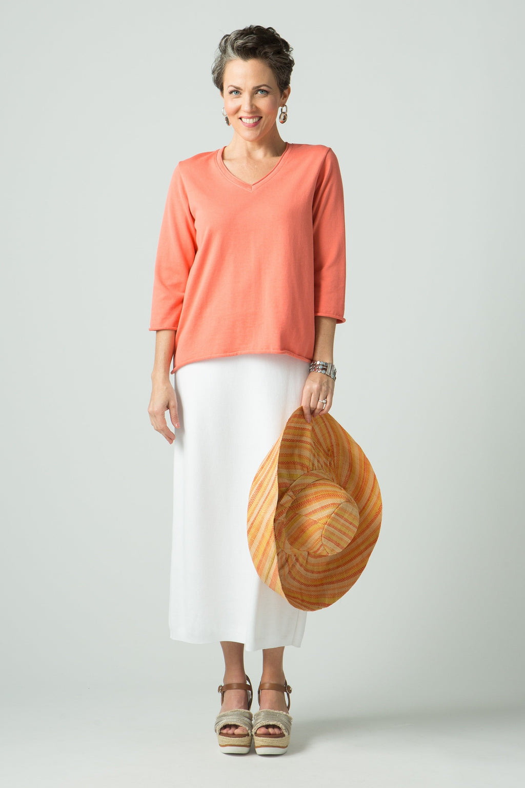 ¾ Sleeve V Neck Top with Roll Trim - New Orleans Knitwear