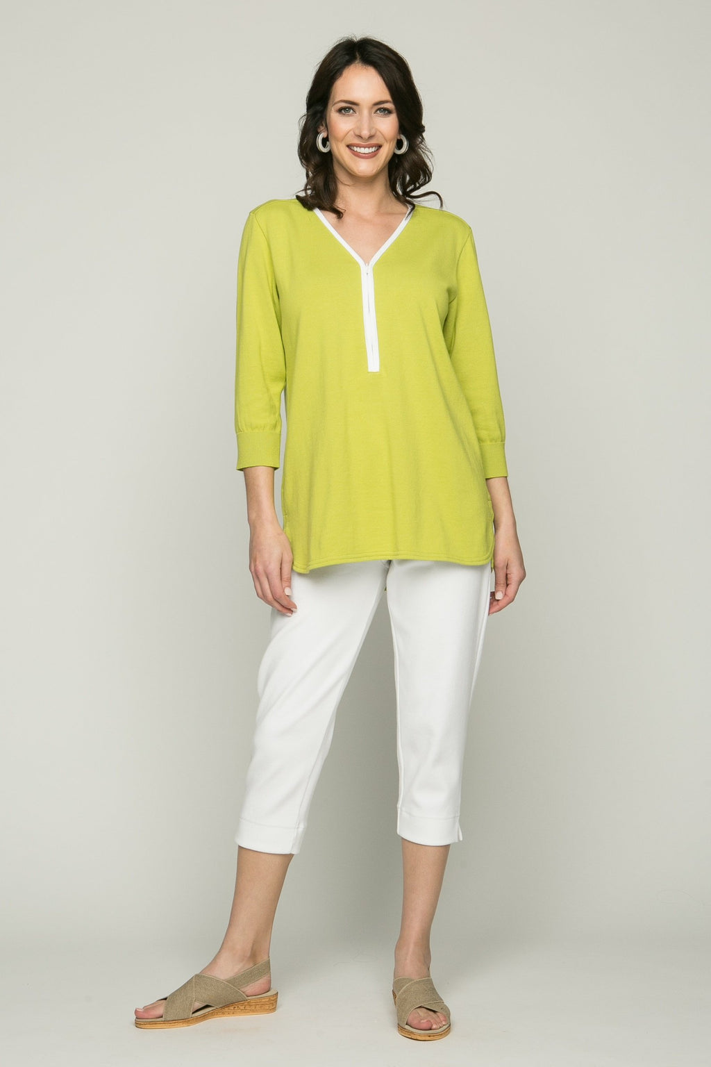 ¾ Sleeve Zip V Neck Top