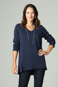 "29"" Hi-Low V Neck Tunic with Front Slits"
