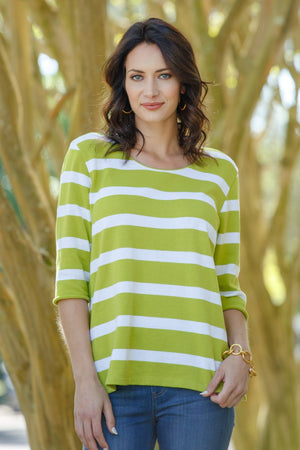¾ Sleeve Scoop Neck Stripe Top