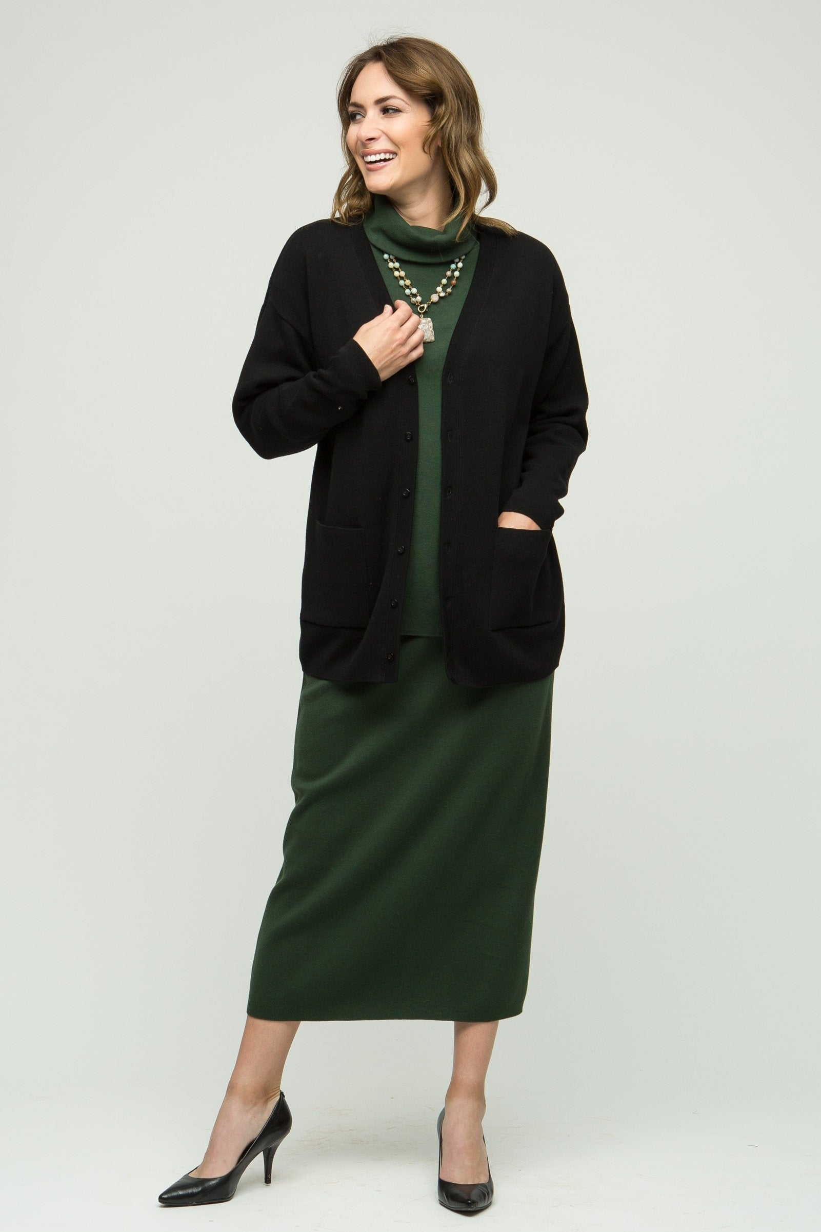 "28"" Long Sleeve Cardigan - Updated Fit"