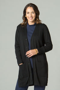 "35"" Long Sleeve Cardigan with Side Slits"