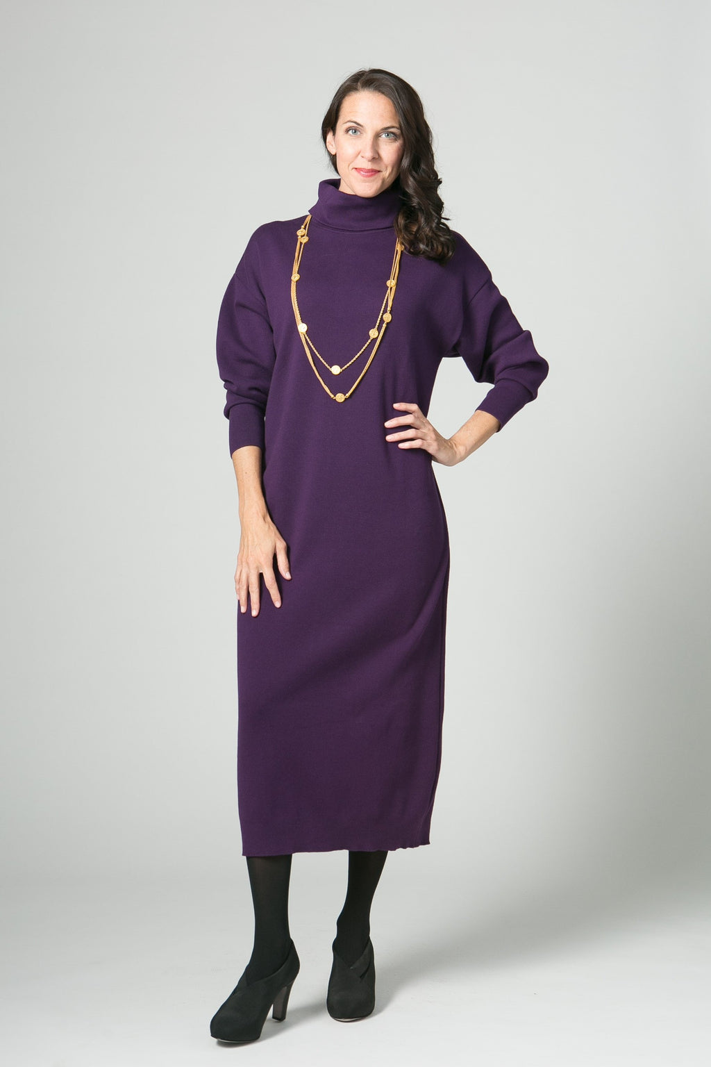 Long Sleeve Classic Turtleneck Dress - Ballin's LTD  &  New Orleans Knitwear