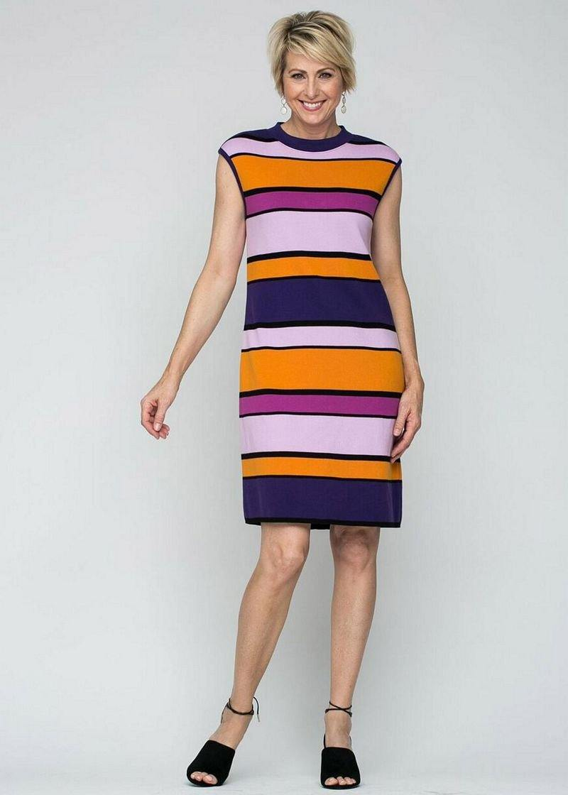 "37"" Stripe Mock Neck Dress"