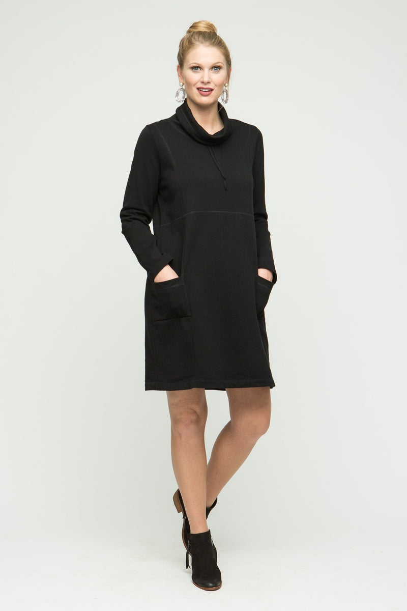 "35"" Long Sleeve Cowl Neck Dress with Pockets"