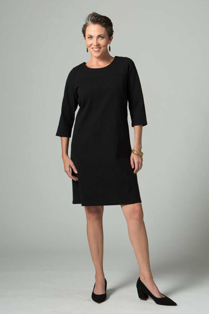 3/4 Sleeve Dress with Seam Detailing