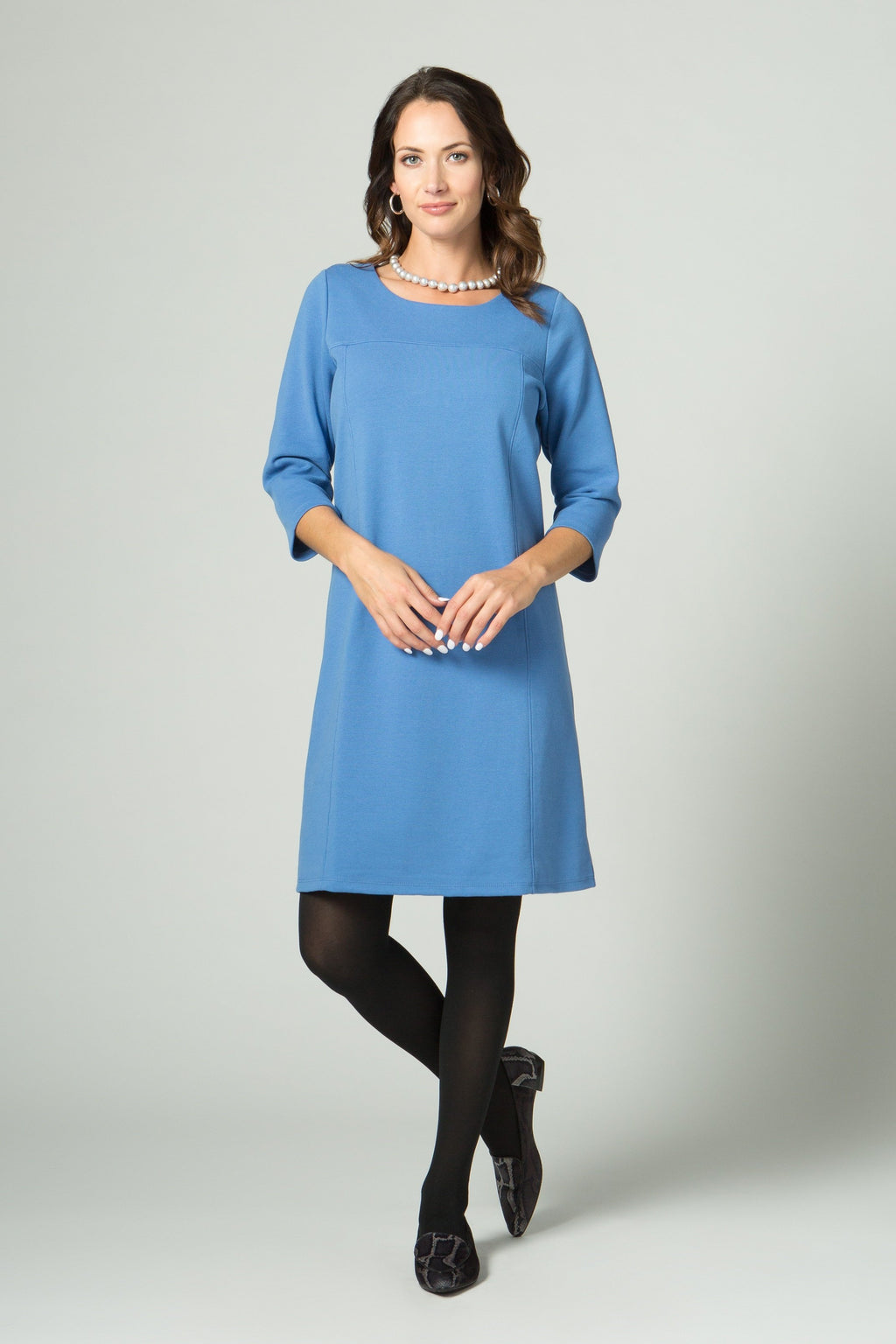 ¾ Sleeve Dress with Seam Detailing - New Orleans Knitwear - Dresses - Casual