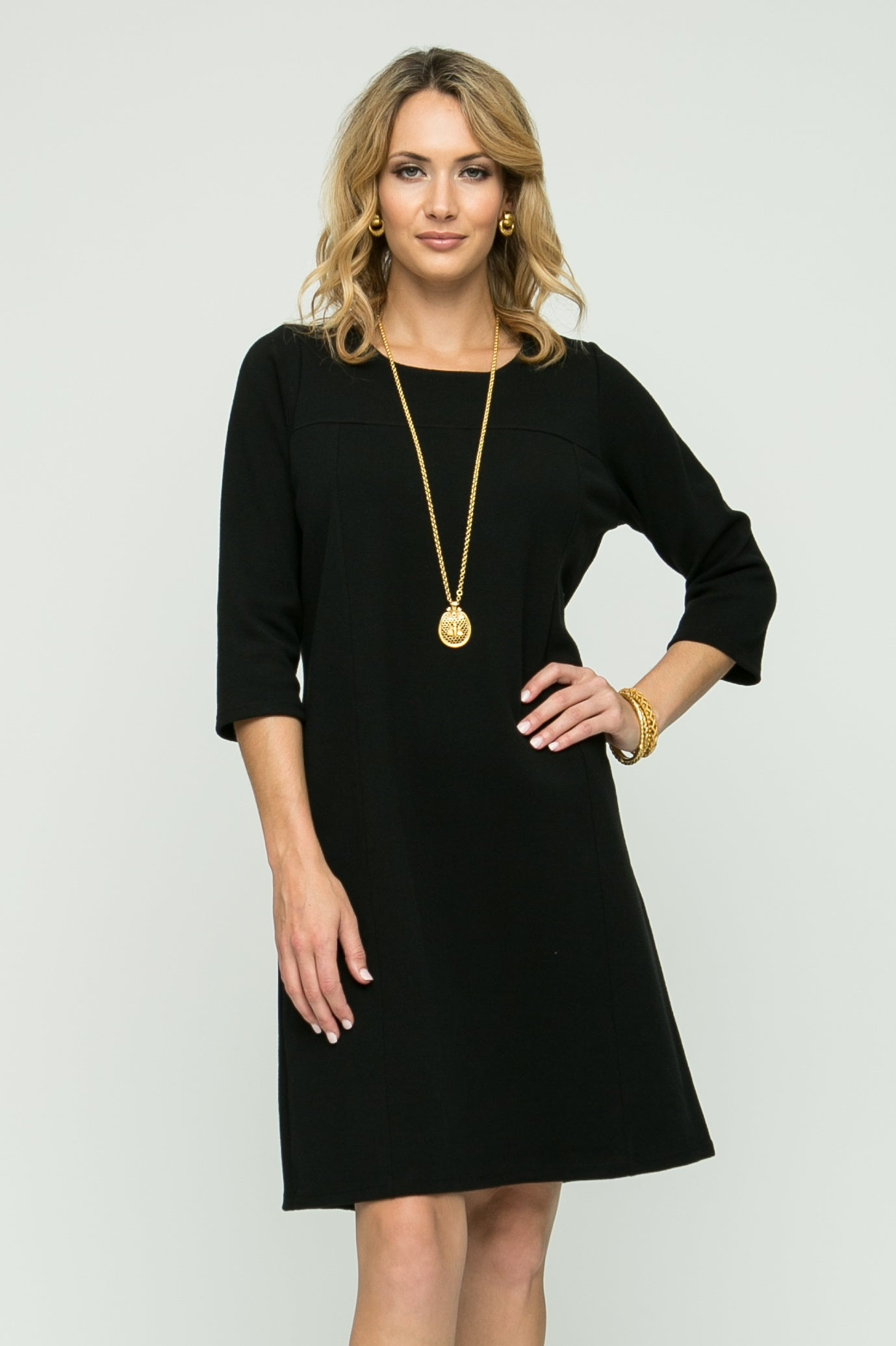 "36"" 3/4 Sleeve Dress with Seam Detailing"