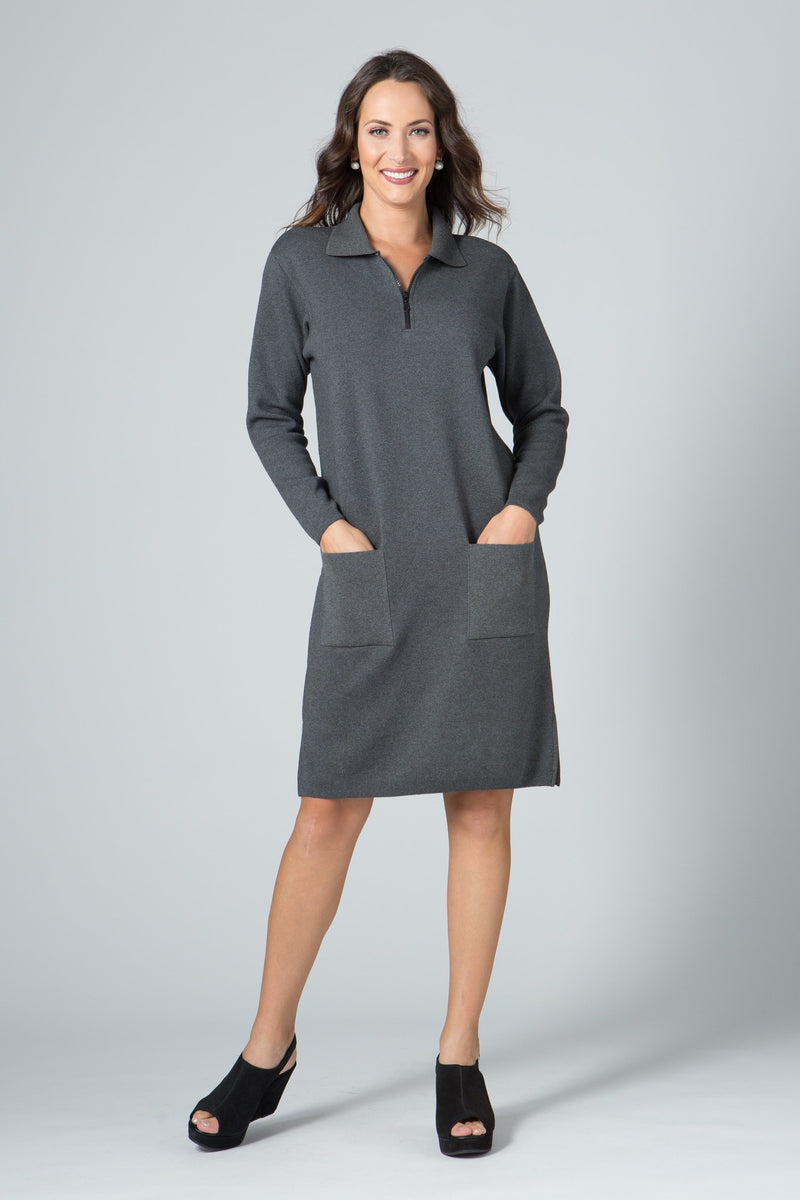 "37"" Long Sleeve Zip Polo Dress with Pockets"
