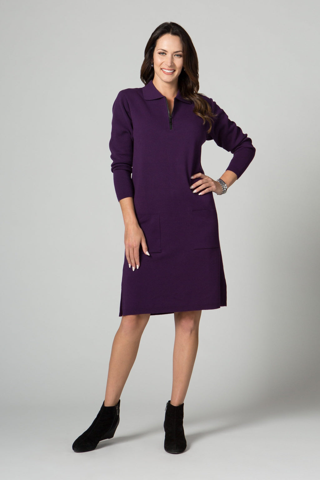 "37"" Long Sleeve Zip Polo Dress with Pockets - New Orleans Knitwear"
