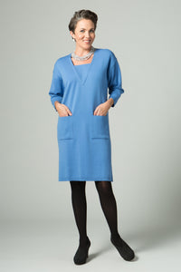 Inset V Neck Dress with Pockets