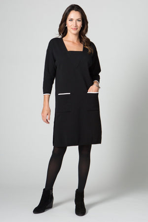 Inset V Neck Dress with Pockets - New Orleans Knitwear