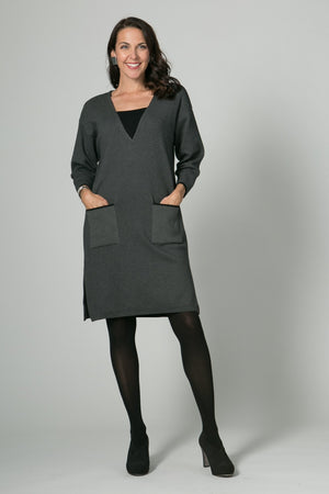 "37"" Inset V Neck Dress with Pockets"