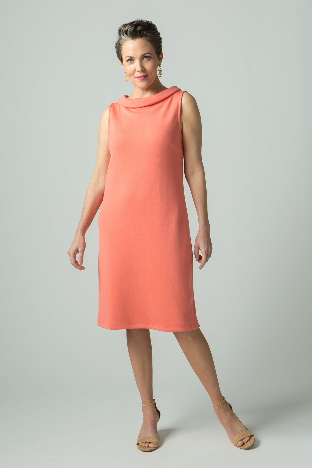 Sleeveless Bateau Neck Fitted Dress - New Orleans Knitwear
