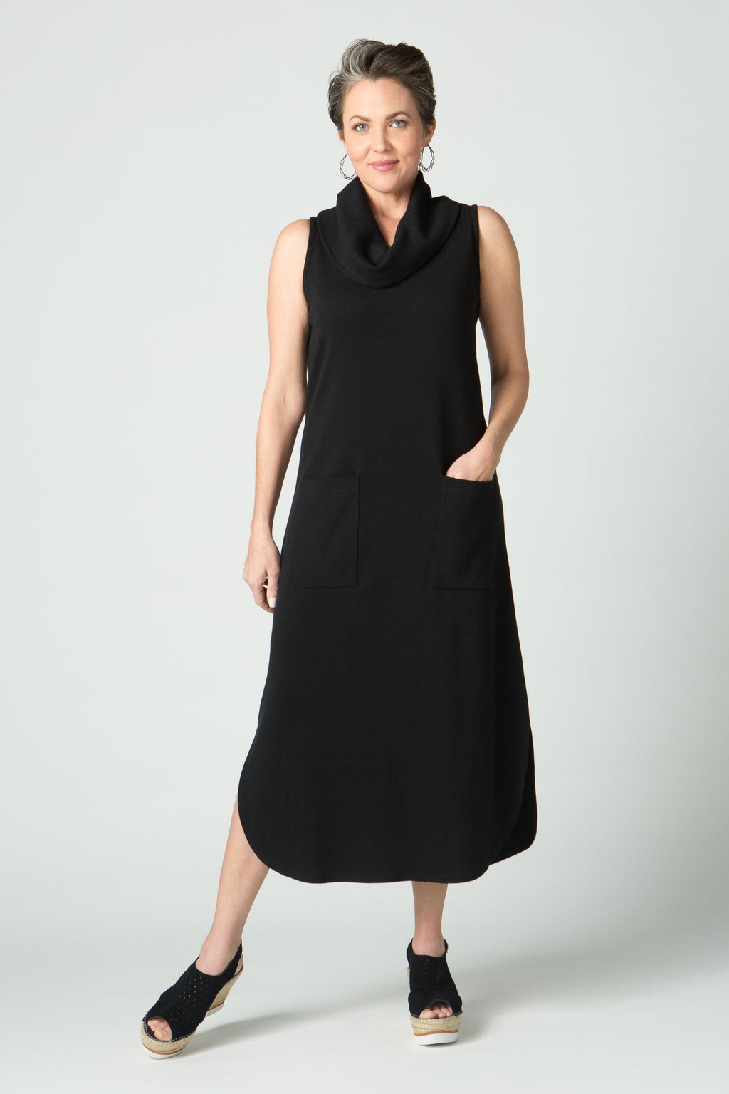 "48"" Cowl Neck Tank Dress with Pockets - New Orleans Knitwear"