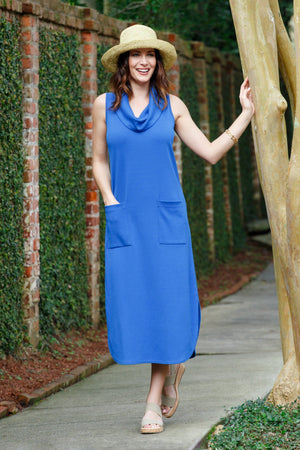 "48"" Cowl Neck Tank Dress with Pockets - New Orleans Knitwear - Dresses - Casual"