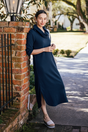 "48"" ¾ Sleeve Cowl Neck Dress with Pockets"