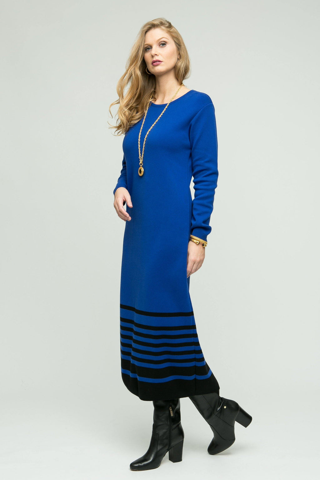 Long Sleeve Dress with Bottom Stripe Detail - New Orleans Knitwear - Dresses - Casual
