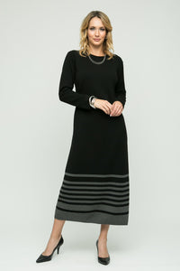 Long Sleeve Dress with Bottom Stripe Detail